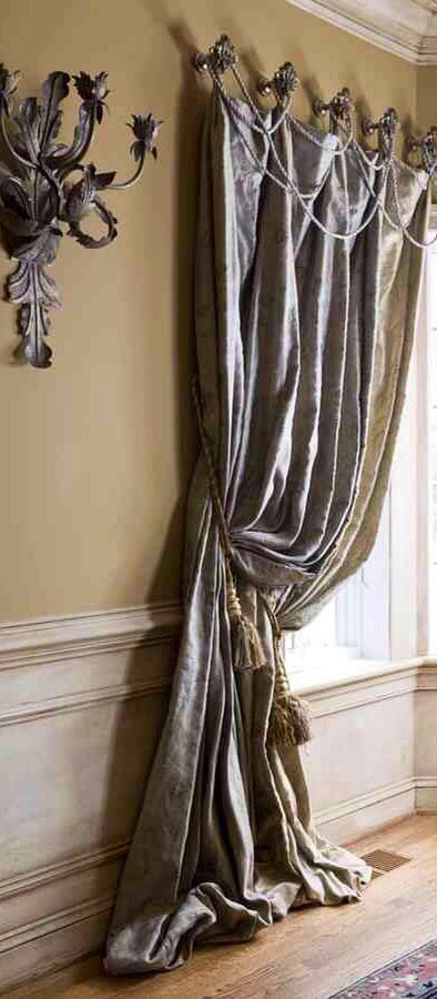 Draped roping is an easy way to embellish a drapery. Trimming and custom draperies available DesignNashville