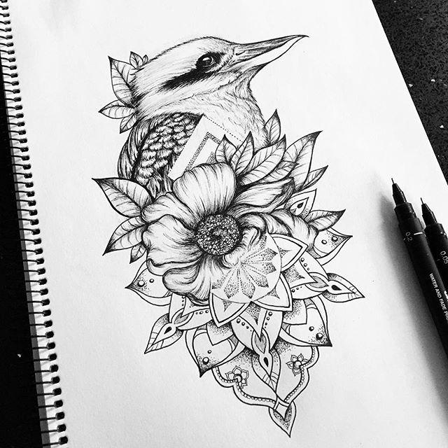 Kookaburra and mandala tattoo design by Emilie @mi_li3_art on instagram. Bird flower line art