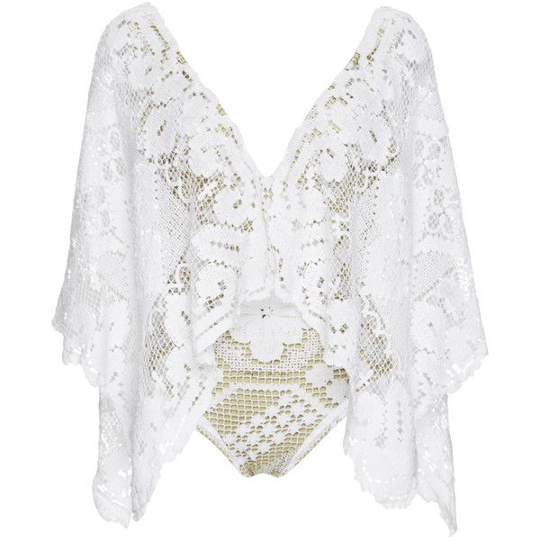Agua de Coco Lace Embroidered One Piece Swimsuit with Extended Sleeves ($1,285) ❤ liked on Polyvore featuring swimwear, one-piece swimsuits, tops, beach, bodies, intimates, lace one piece swimsuit, deep v neck one piece swimsuits, crochet one-piece swimsuits and crochet bathing suit