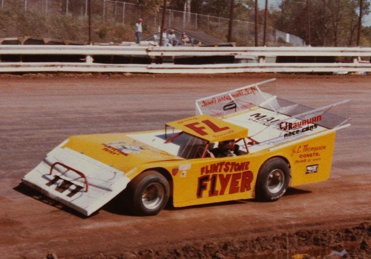 Vintage wedge dirt late model racing Mike Duval from Gaffney South Carolina in the infamous F1 Flintstone Flyer