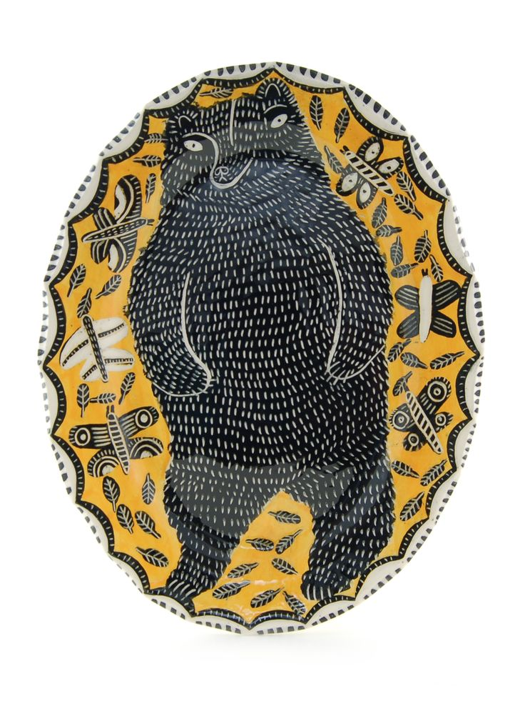 Black bear and Butterflies (golden).  www.vickylindo.co.uk