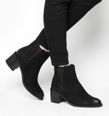 Office, Acton Pointed Chelsea Boots, Black Nubuck