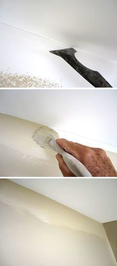 How pros don't use tape. Paint your ceiling first, wrapping the corner.  Take your ubiquitous 5-in-1's back edge and gently score a mark. Just use the corner as…