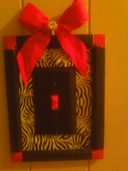 light switch in bathroom!!! (1) old picture frame... (1 ribbon off a girft) and zebra duct tape!