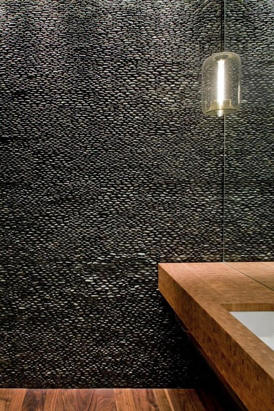 Charcoal Black Standing Pebble Tile In 2018 Architecture And Design Inspiration House Interior