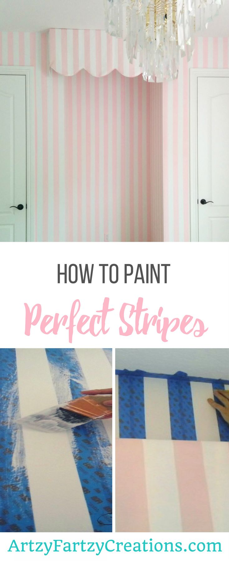 How to Paint Perfect Stripes | Six Steps to Painting Stripes on Walls by Cheryl Phan | Accent Wall | Feature Wall | Striped Wall | Nursery Paint Ideas | PInk and White Stripe