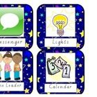 4 pages with a total of 16 colourful and bright classroom helper chart labels. ...
