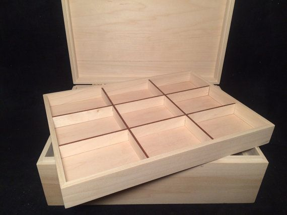 Unfinished Wood Box with Hinges & Tray-12 x 9 x 4 1/4-unfinished wood box-ready to finish-engravable wood box-personalized laser engraving