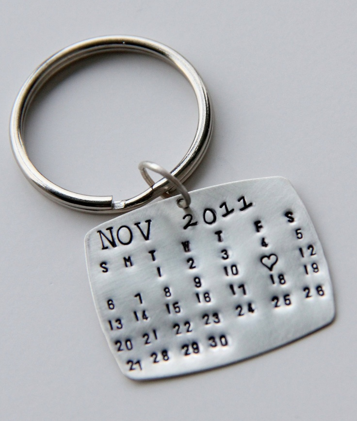Calendar Keychain Silver, Calendar Key Chain, Valentines Gift For Him, Wedding Favors, Save The Date, Special Day-  Anniversary, wedding Men. $38.00, via Etsy.