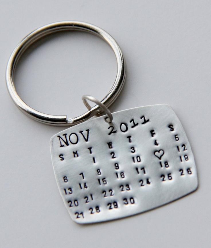 Sterling Calendar Keychain , Gift For Him, Calendar Key Chain, Wedding ...