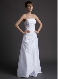 Robes de Demoiselle d'Honneur Ligne-A/Princesse Sans bretelles Longeur au sol Tafetta Robes de Demoiselle d'Honneur avec Ondulé (007001070)