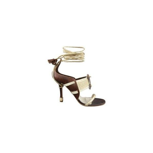 CHRISTIAN DIOR Size 7.5 Brown Silver Leather Ankle Strap Sandals ❤ liked on Polyvore featuring shoes, sandals, silver strappy shoes, silver metallic shoes, leather ankle strap sandals, thick strap sandals and brown strappy sandals