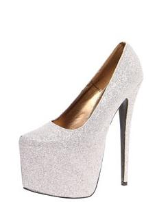 Sofia Silver All Over Glitter super High Platform Heels