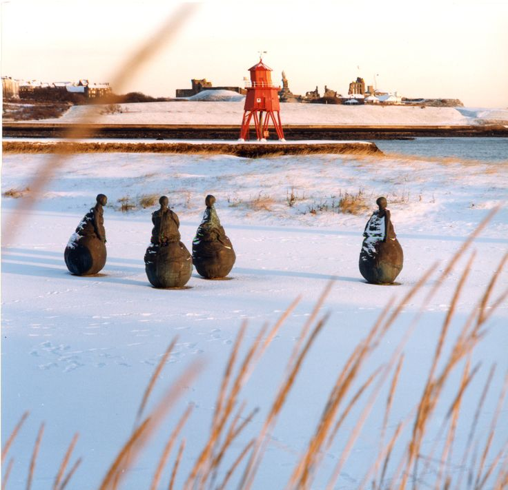 Conversation Piece in the snow, South Tyneside.