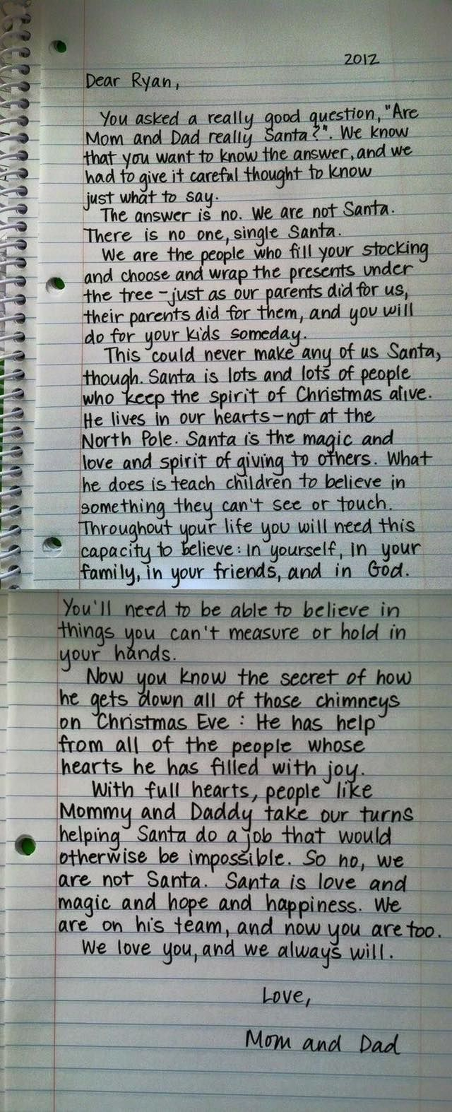 Dear Trevor Sheridan <3 - Dec. 10th 2015 - <3 This is the best way I've ever heard this explained & so very true! I Love you so much my Sweet Prince - I know you'll be a great helper to Santa to your children one day :) Merry Christams