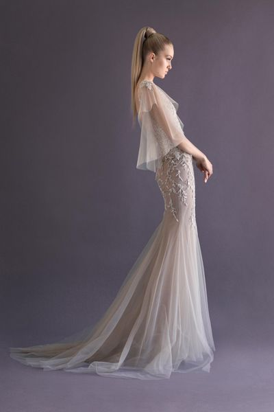 Paolo Sebastian 2014 French tulle fishtail gown with embroidered vine detailing and wing sleeve.