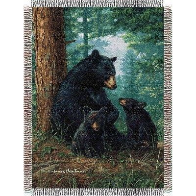 48x60 Brown Black Animal Throw Blanket Novelty Wildlife Bears Cottage Cabin Lodge House Themed Bedding Forest Bear Cubs Woods Evergreen Trees Woven