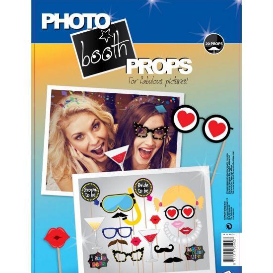 Foto booth set bestaande uit 20 grappige vrijgezellenfeest accessoires op stokjes. Om de leukste fotos mee te maken!