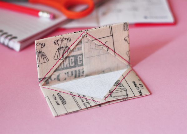 Keep your business cards together with this DIY fabric holder.