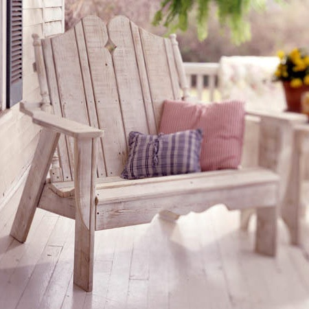 Outdoor bench for the deck