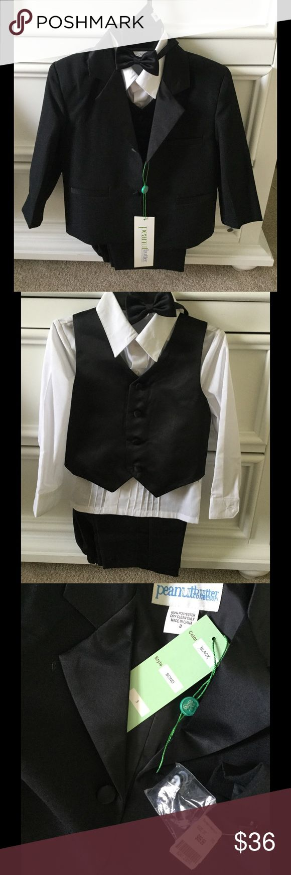 Toddler tuxedo size 3 Brand new tuxedo, size 3, purchased from the men's warehouse. Includes pull on elastic back pants, white button down shirt, black vest, black coat, bow tie. Just in time for wedding season! Matching Sets