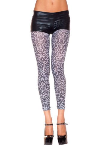 Sexy Opaque Grey and Black Animal Leopard Print Footless Leggings New US OS | eBay
