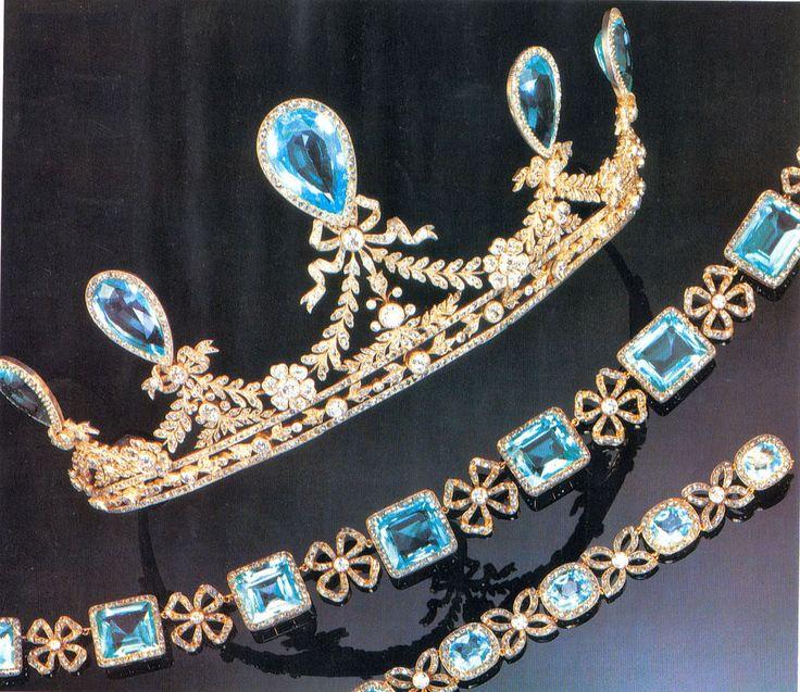 Aquamarine Parure of Grand Duchess Elizaveta Feodorovna (Ella), the senior sister of Empress Alexandra. The Tiara, Necklace, and Bracelet were made by Faberge.