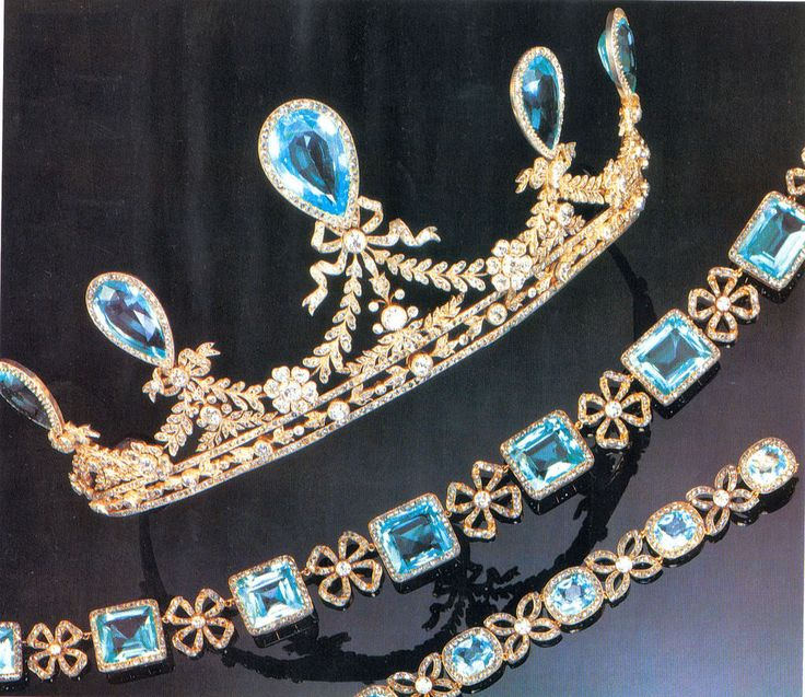 Aquamarine Parure of Grand Duchess Elizaveta Feodorovna (Ella), the senior sister of Empress Alexandra. The Tiara, Necklace, and Bracelet were made by Faberge.