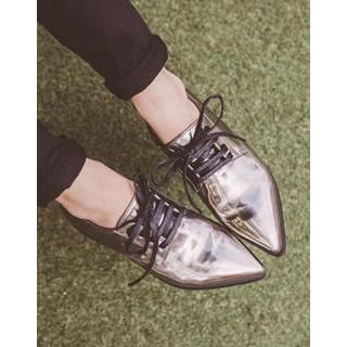 cherry spoon - Pointy-Toe Lace-Up Oxfords