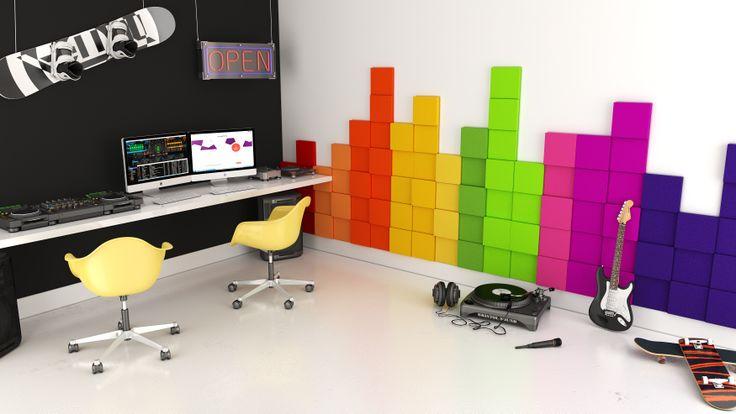 Pokój dla dziecka. Pokój młodzieżowy. Pokój muzyczny. Pracownia. Pokój do pracy. Gabinet. Biuro. Kolekcja Fluffo PIXEL. design, architektura wnętrz, interior design, panele ścienne, panele 3d, panele ścienne 3d, ściana 3d, dekoracje ścienne, ozdoby ścienne, pomysł na ścianę, aranżacja ściany, miękkie panele ścienne 3d, Fluffo, Fabryka Miękkich Ścian
