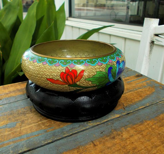 Vintage Chinese Cloisonne Enamel Brass Bowl and Stand Red