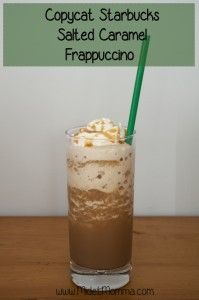 Copycat Starbucks Salted Caramel Frappuccino that you can make at home and still have the awesome Starbucks Flavor you love. Easy to make copycat starbucks