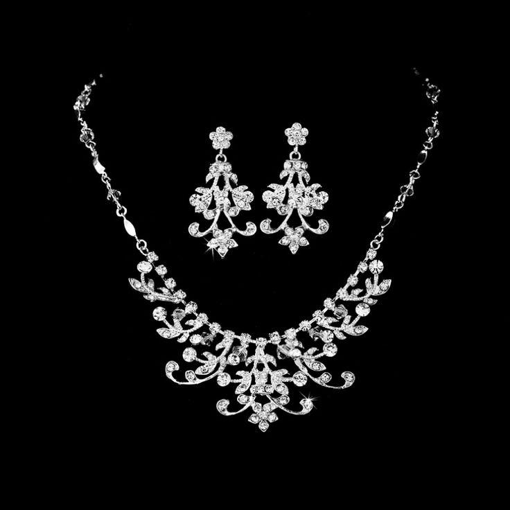 Elaborate Swarovski Crystal Bridal Jewelry Set