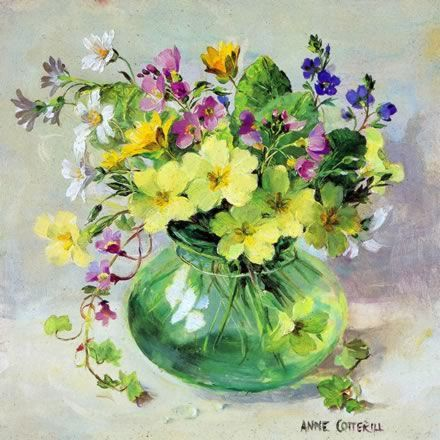 Spring Posy - Blank Card by Anne Cotterill Flower Art