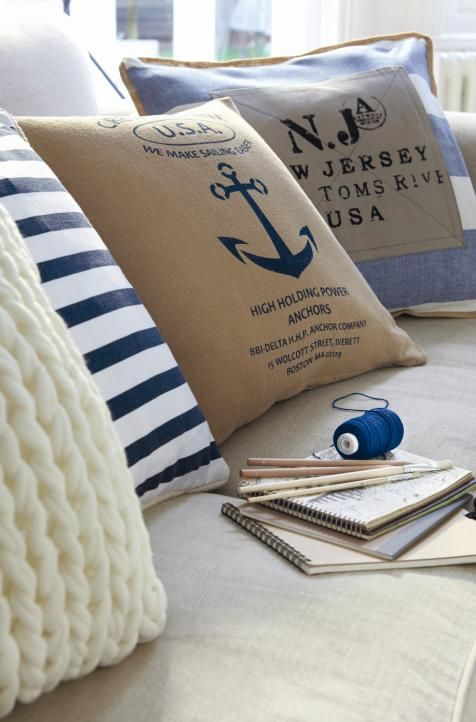Coastal Cushions #hamptons #nautical #coastal
