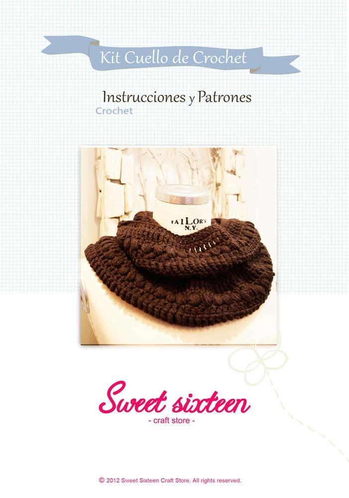 Image of Kit, patrón e instrucciones cuello de ganchillo