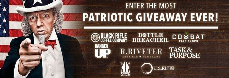 **NEW CONTEST** Enter the Most Patriot Giveaway EVER via Black Rifle Coffee Company, Bottle Breacher, Combat Flip Flops, Ranger Up, R. Riveter, Task & Purpose, Sheepdog Response & US Elite Gear http://swee.ps/CJxFpjBPi <-- USE LINK TO ENTER (ends 7/4) 🇺🇸