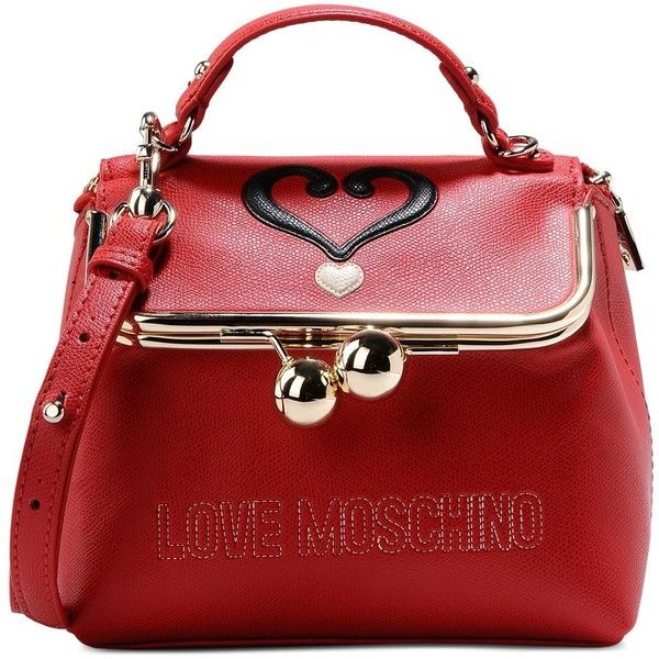 Love Moschino Small Fabric Bag (5.531.555 VND) ❤ liked on Polyvore featuring bags, handbags, red, red purse, handle bag, love moschino purse, red bag and logo bags