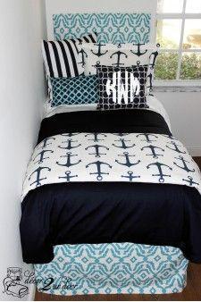 Anchor Preppy Custom Dorm Bedding Coastal & Navy Nautical Designer Bed In A Bag Set