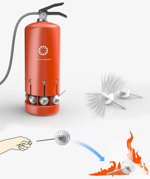 Fire Extinguisher With Balls by Zhang Zhicheng, Bu Jia, Bao Haimo & Xu Kun - This design for a fire extinguisher has several small water bombs or balls which can be used to instantly put out small fires. Read more at http://www.yankodesign.com/2014/01/23/fire-bombs/#m1qfHbvBw5sweg1h.99