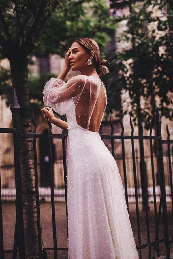 A Line See Through Tulle Long Sleeve Wedding Dresses Pearl Wd336 Wedding Dress Sleeves Sheer Wedding Dress Wedding Dress Long Sleeve