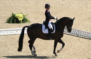 Equestrian - Olympics: Day 10RIO DE JANEIRO, BRAZIL - AUGUST 15: Charlotte Dujardin of Great Britain riding Valegro competes in the Dressage Individual Grand Prix Freestyle on Day 10 of the Rio 2016 Olympic Games at Olympic Equestrian Centre on August 15, 2016 in Rio de Janeiro, Brazil. (Photo by David Rogers/Getty Images)
