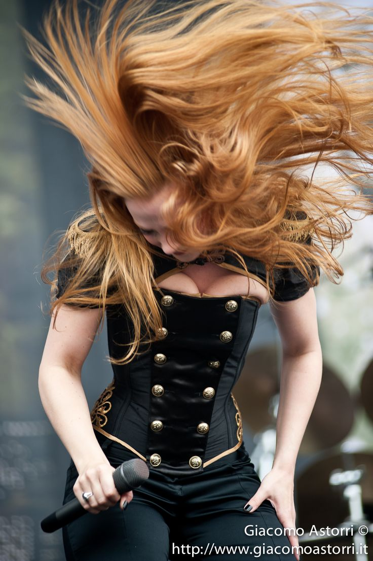 Simone Simons sexy red-headed female mezzo-soprano singer of Dutch symphonic…