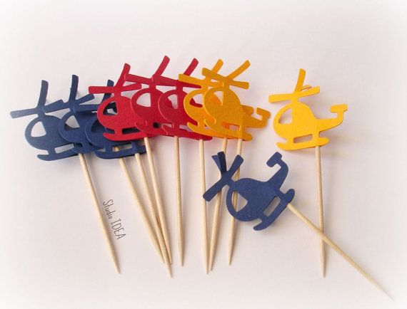 24 Primary Colors Helicopter Cupcake Toppers by StudioIdea