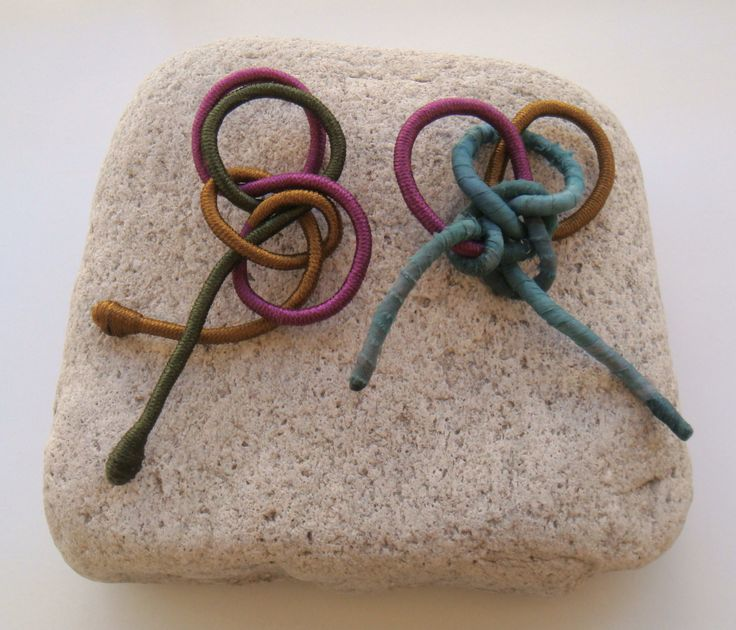 brooches with silky yarn and silky textile