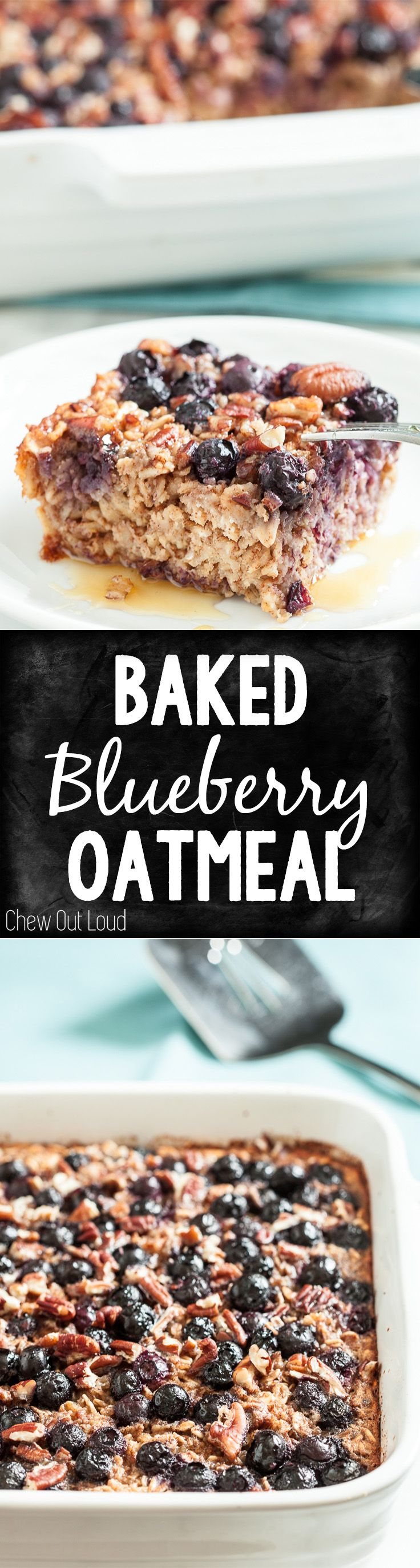 Clean, Healthy, and Too Delicious! Baked Blueberry Oatmeal is easy and can be made the night before. #breakfast #brunch #glutenfree