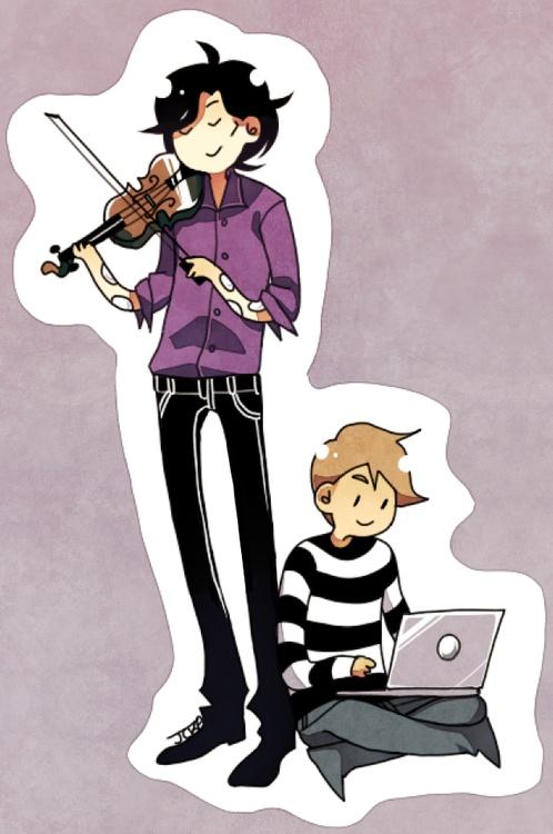 Chibi Sherlock and Watson dutifully doing what they do best.