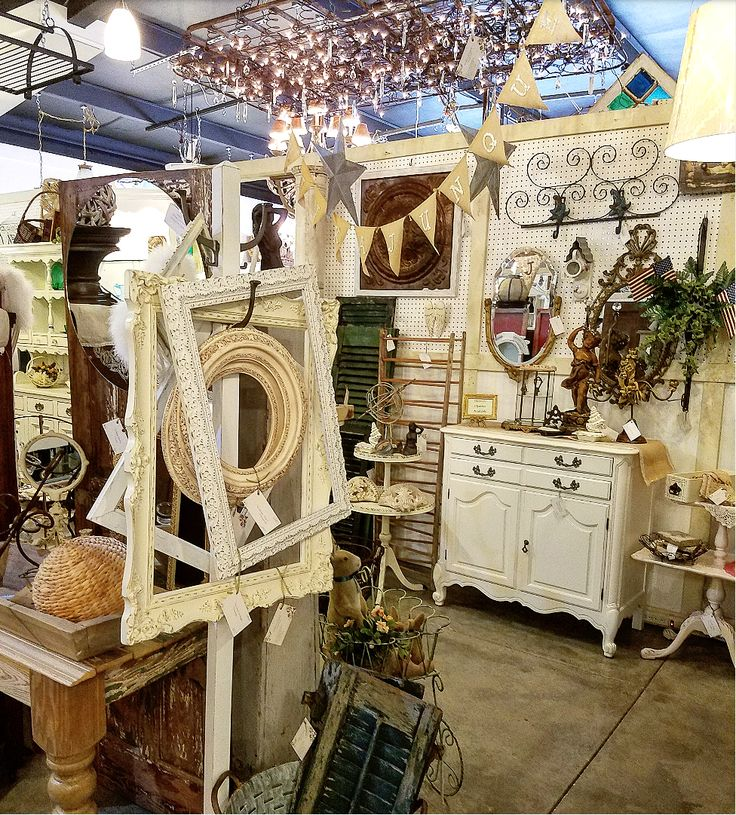 Gorgeous shabby chic antiques booth display vintage marketplace