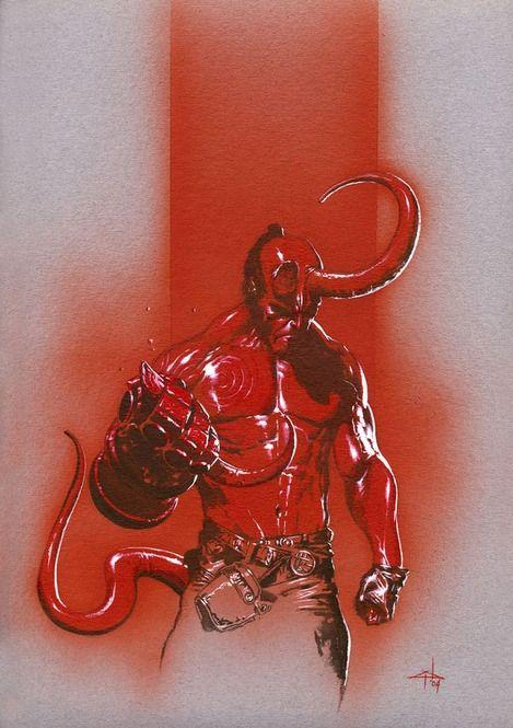 """lospaziobianco:  1) Hellboy by Jimmy Kerast 2) HellBoyby *AdamHughes 3) Hellboyby `pacman23 on Tumblr 4) HELLBOYby ~ekoputeh 5) Hellboy Reduxby ~mangrasshopper 6) Hellboy Jr's pancakesby *ChristopherStevens 7) Batman and Hellboyby *ChristopherStevens 8) """"Spider-Man , Hellboy""""by ~SURFACEART on Tumblr 9) HellBoy Fan artby ~XAV-Drawordie on Tumblr 10) Hellboy by Gabriele Dell'Otto"""