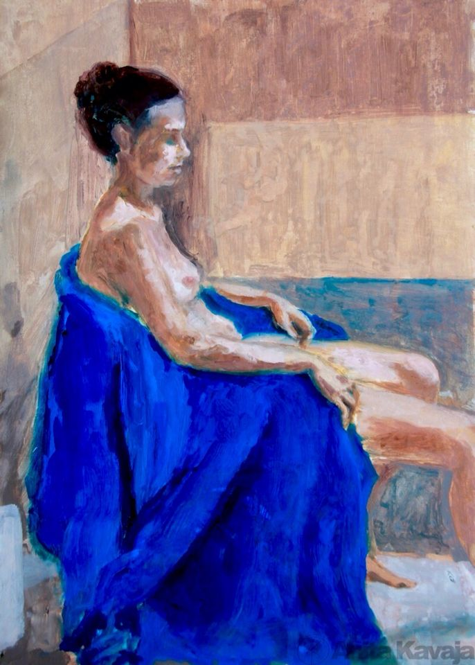 Nude on Electric-Blue Chair -  Anita Kavaja